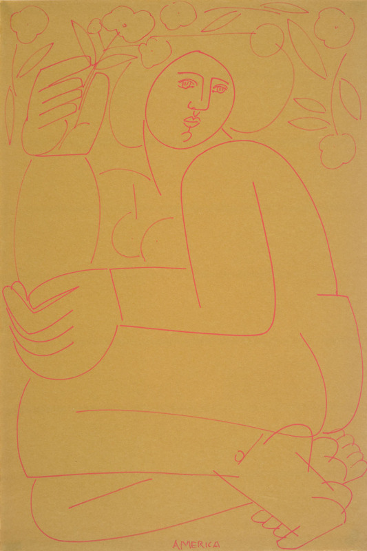 Woman on marigold paper