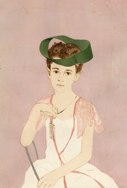 Girl with a Blivet Pendant Wearing a Möbius Strip as a Hat