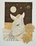 <b>Zebra with Night Sky</b><br>Hand-cut paper collage, 14x11 inches unframed<br>$850