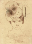 <b>Sarah Wearing One of a Series of Hats (5/9 e.v.)</b>, 2017<br>drypoint with hand painting, 15x11 inches<br><i>sold</i>