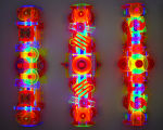 <b>Fluorescent Constructions I, II, III</b>, 2009<br>Fluorescent cast acrylic, electric fixtures, blacklight, 48x16x9 inches each<br>$5800