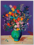 <b>Purple Bouquet</b>, 2014<br>Acrylic and oil pastel on canvas, 52x39 inches<br><i>sold</i>