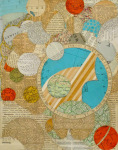 <b>Other Worlds I</b><br>Hand-cut paper collage, 14x11 inches unframed<br>$850