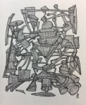 <b>A Fine Machine, Sieves continued by Archie Cox</b>, 2017<br>Ink on paper, 5x4 inches, 11x10 inches framed<br>$350