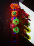 <b>Flourescent Construction (Detail)</b><br>Fluorescent cast acrylic, electric fixtures, blacklight, 48x16x9 inches<br>$5800