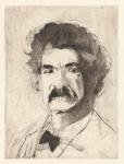 <b>The Aging of Mark Twain on One Copper Plate- Stage 4</b>, 2012<br>Drypoint, 16x12 plate, 22x17 paper- part of 5 print suite<br>$2500