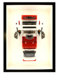<b>Valentine</b>, 2017<br>Oliventti Valentine portable typewriter c. 1969, wood, latex, flourocarbon Monofilament, LED lighting, 36 &amp;#189; x 48 x 12 in.<br>$19500
