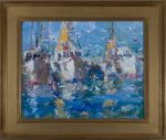 <b>Harbor</b><br>Oil on Canvas, 16x20 image, 24x28 inches framed<br>$2000