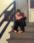 <b>Waiting Outside by Nathan Madrid</b>, 2012<br>Oil on linen, 20x16 inches<br>$1100