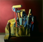 <b>Accessorizing with Belts</b>, 2014<br>Oil on panel, 24x24 inches<br>$5000