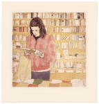 <b>The Left Bank Book Shop</b>, 2012<br>Woodcut and drypoint on paper, 16x16 plates, 22x23 paper unframed<br>$700