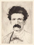 <b>The Aging of Mark Twain on One Copper Plate- Stage 3</b>, 2012<br>Drypoint, 16x12 plate, 22x17 paper- part of 5 print suite<br>$2500