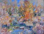 <b>Fall Creek</b>, 2009<br>Oil on linen, 16x20 image, 24x28 inches framed<br>$2500