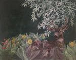 <b>Black-Tailed Deer under Bay Laurel in Green Mule Ears and Red Larkspur</b>, 2016<br>Aquatint Etching Collage, 28x34 inches, 32x38 framed <br>$1700