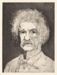 <b>The Aging of Mark Twain on One Copper Plate- Stage 5</b>, 2012<br>Drypoint, 16x12 plate, 22x17 paper- part of 5 print suite<br>$2500
