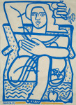 <b>Blue Chair and Lunch Fruit</b>, 2014<br>Ink on paper, 55x40 inches<br>$4750