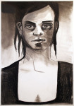 <b>Wet Hair</b>, 2013<br>Charcoal on paper, 44x30 inches unframed<br>$1500