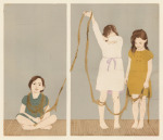 <b>Indirectly Attached: Girls and Gold</b>, 2014<br>Woodcut, drypoint and monoprint on paper, Edition of 5, 18x21 inches plate size, 27x22 inch paper size, Unframed<br>$800