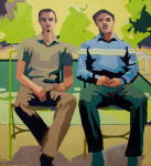 <b>Nathan and Jimmy</b>, 2013<br>Oil on canvas, 74x68 inches<br>$6500