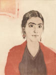 <b>Maria As Frida</b>, 2012<br>Woodcut and drypoint on paper, 8x6 plate, 15x11 paper<br>$500
