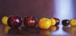 <b>Dual Plums</b>, 2014<br>Oil on birch panel, 12x24 inches<br>$1600