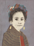 <b>Daniela as Frida</b><br>Woodcut and drypoint on paper, 8x6 plate, 15x11 paper unframed<br>$400