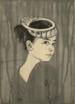 <b>Mia Wearing a Perforated M&amp;#246;bius Strip as a Hat</b>, 2017<br>drypoint and aquatint (3 plates), 15x11 inches<br>$600