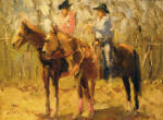 <b>Texas Riders</b>, 2012<br>Oil on canvas panel, 12x16 inches<br>$1500