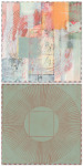 <b>Conversation During a Short Rainfall</b>, 2017<br>drypoint, oil pastel, ballpoint, collage on panels, 33x16 inches<br>$1600
