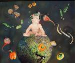 <b>Oh, This Wonderful World: Ugli Fruit</b>, 2001<br>Oil on linen, 24x30 inches<br>$5000