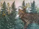 <b>Bobcat in California Polypody and American Vetch</b>, 2015<br>Aquatint Etching Collage, 4/5 e.v., 15x12 unframed<br>$450
