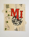 <b>Mi Beast</b><br>Hand-cut paper collage, 10x9 inches unframed<br>$450