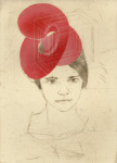 <b>Sarah Wearing One of a Series of Hats (1/9 e.v.)</b>, 2017<br>woodcut and drypoint, 15x11 inches<br>$600