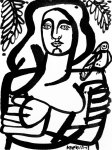 <b>Woman &amp; Parakeet </b>, 2013<br>Ink on paper, 8x6 inches<br>$800