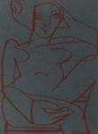 <b>Woman in Chair</b>, 2012<br>Pastel on Paper, 6x4.5 inches<br>$550