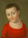 <b>Shorthaired Girl with Pearls</b>, 2013<br>Oil on panel, 8x6 inches<br><i>sold</i>