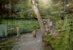 <b>Children in the river</b>, 2017<br>Oil on canvas, 45x63 inches<br>$5200