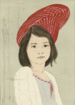 <b>Audrey Wearing 36 Interlocking M&amp;#246;bius Strips as a Hat</b>, 2016<br>Woodcut, drypoint and hand painting, 15x11 inches<br>$600