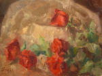 <b>Roses on Paper</b>, 2012<br>Oil on canvas panel, 12x16 inches<br>$1500
