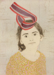 <b>Anna Wearing a M&amp;#246;bius Strip as a Hat</b>, 2016<br>Woodcut, drypoint and hand painting, 15x11 inches<br>$600