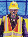 <b>Crew Member, 500 W 2nd Street</b>, 2016<br>Acrylic and gouache on canvas, 40x30 inches<br>$2800