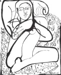 <b>Woman &amp; Paisley Pillows</b>, 2015<br>Ink on paper, 23x18 inches<br>$2000