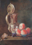 <b>Still Life with Mouse</b>, 2014<br>Oil on wood panel , 14x11 inches<br>$4000