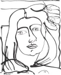 <b>Woman &amp; Flower</b>, 2015<br>Ink on paper, 23x18 inches<br>$2000