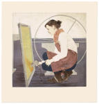 <b>The Screen and The Wheel</b>, 2012<br>Woodcut and drypoint on paper, 16x16 plates, 22x23 paper unframed<br>$700