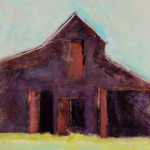 <b>Homestead Barn</b>, 2016<br>Monoprint on panel, 12x12 inches<br>$1200