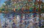 <b>Frio River Reflections</b>, 2017<br>Oil on canvas, 24x36 inches<br><i>sold</i>