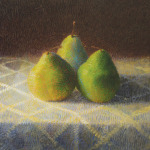 <b>Pears with Old Tablecloth</b>, 2013<br>Oil, 36x36 inches<br>$5200