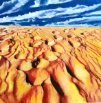 <b>The Monahans Sandhills</b><br>Watercolor on paper, 7.5x7.5, 20x16 inches framed<br>$1400