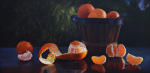 <b>Basket of Citrus in Afternoon Light</b>, 2016<br>Oil on panel, 24x48 inches<br>$4900